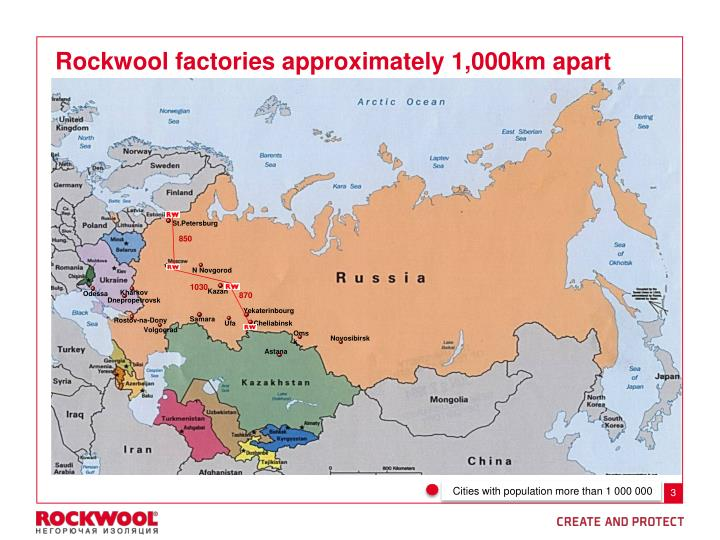 Rockwool factories approximately 1,000km apart