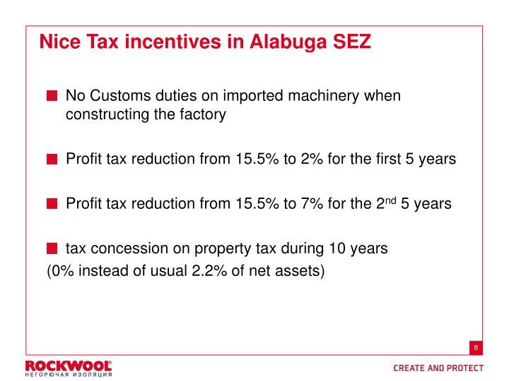Nice Tax incentives in Alabuga SEZ