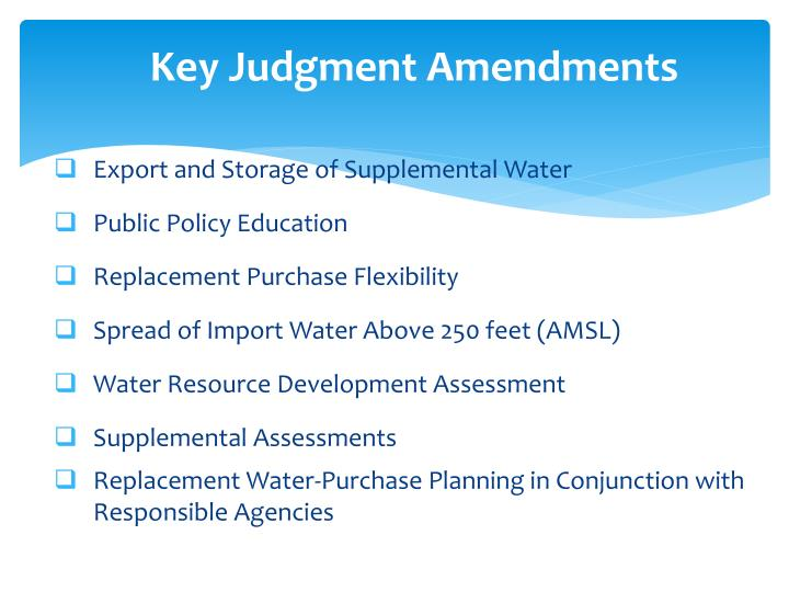 Key Judgment Amendments