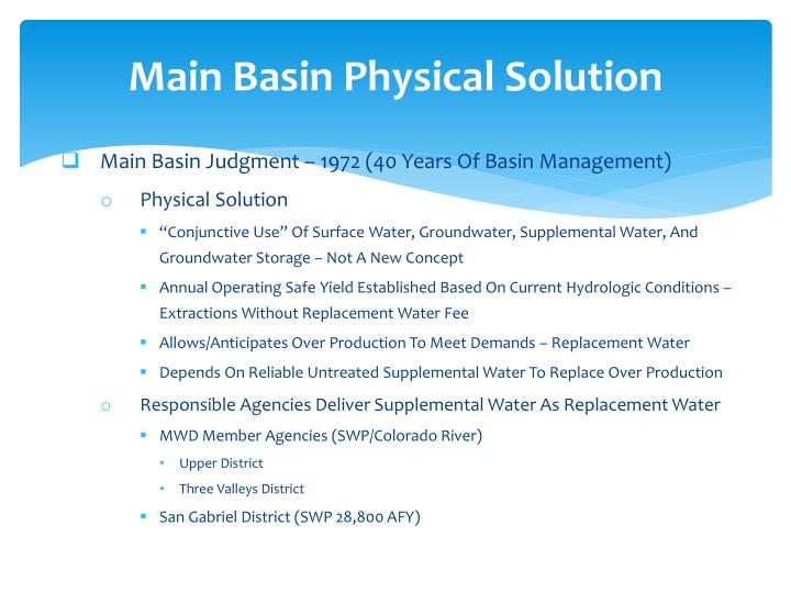 Main Basin Physical Solution