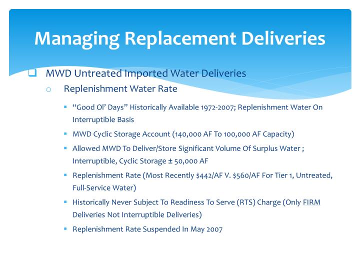 Managing Replacement Deliveries