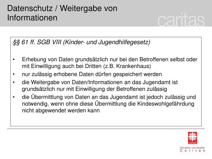 §§ 61 ff. SGB VIII (Kinder- und Jugendhilfegesetz)