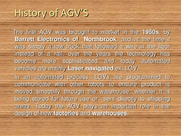 History of AGV'S