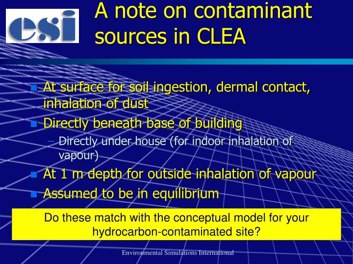 A note on contaminant sources in CLEA
