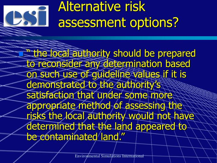 Alternative risk assessment options?