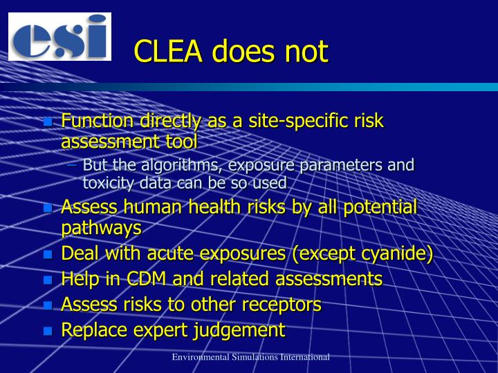 CLEA does not
