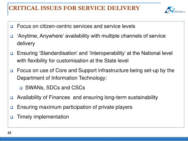 CRITICAL ISSUES FOR SERVICE DELIVERY