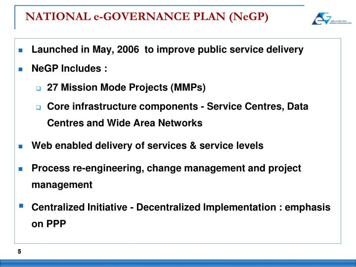 NATIONAL e-GOVERNANCE PLAN (NeGP)