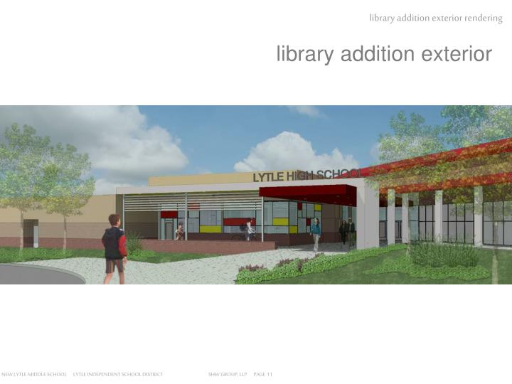 Library addition exterior rendering