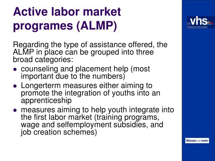 Active labor market programes (ALMP)