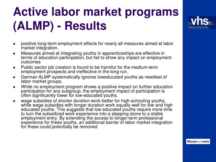 Active labor market programs (ALMP) - Results