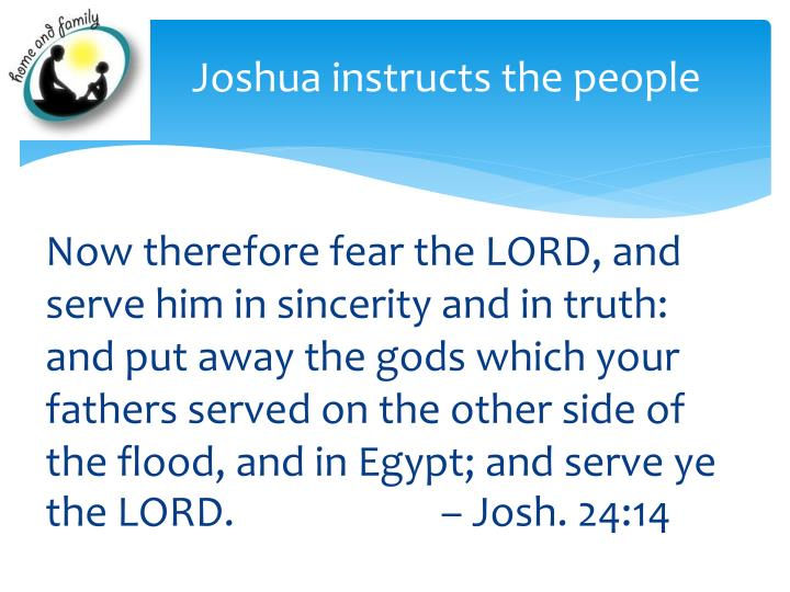 Joshua instructs the people