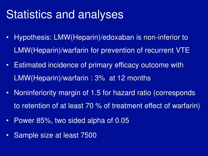 Statistics and analyses