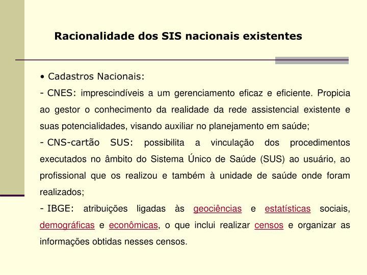 Racionalidade dos SIS nacionais existentes