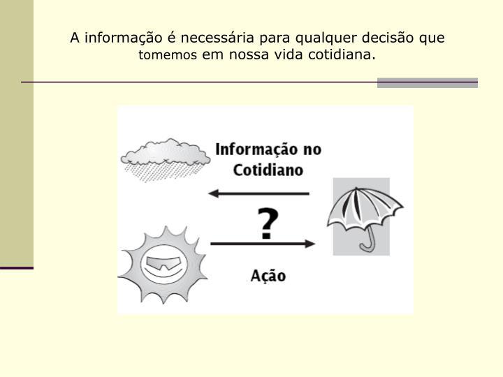 A informação é necessária para qualquer decisão que