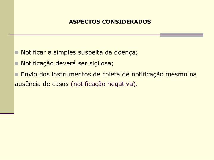 ASPECTOS CONSIDERADOS