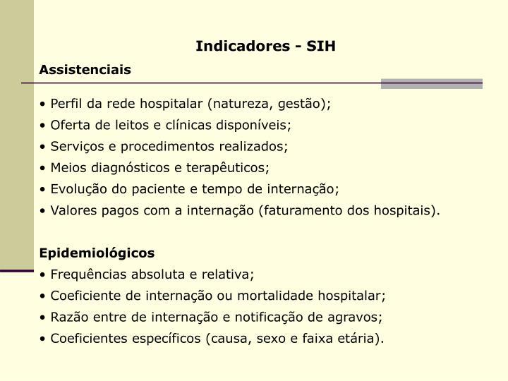 Indicadores - SIH