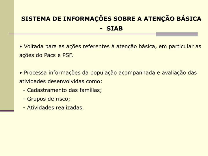 SISTEMA DE INFORMAÇÕES SOBRE A ATENÇÃO BÁSICA -