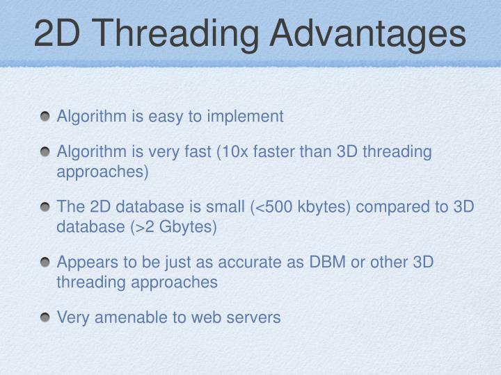 2D Threading Advantages