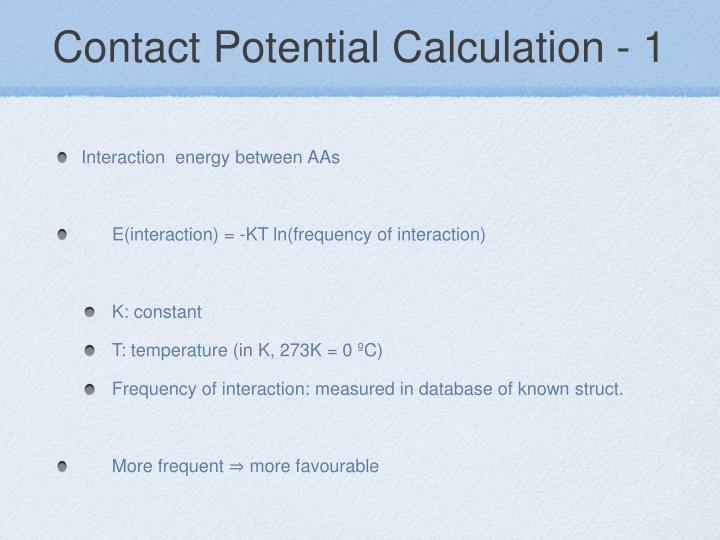Contact Potential Calculation - 1