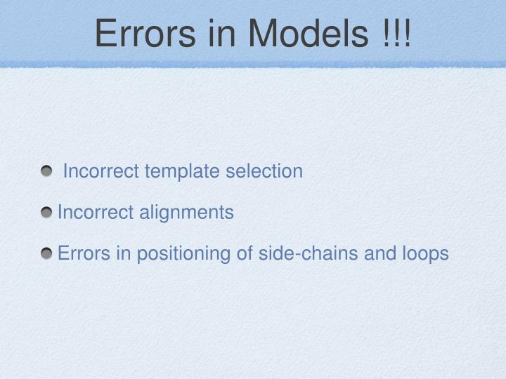Errors in Models !!!