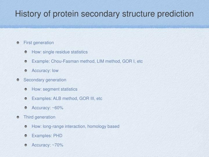 History of protein secondary structure prediction