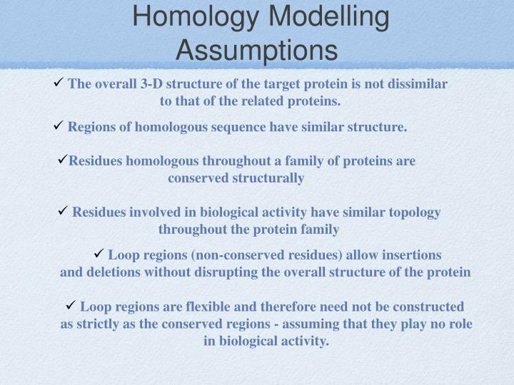 Homology Modelling Assumptions