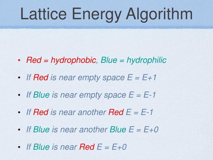 Lattice Energy Algorithm