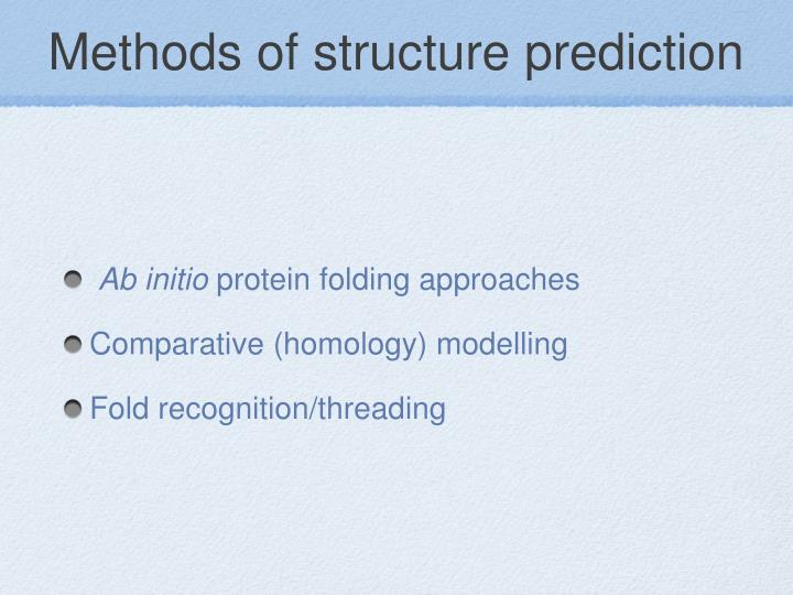 Methods of structure prediction