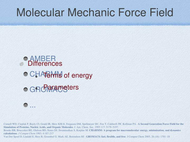 Molecular Mechanic Force Field