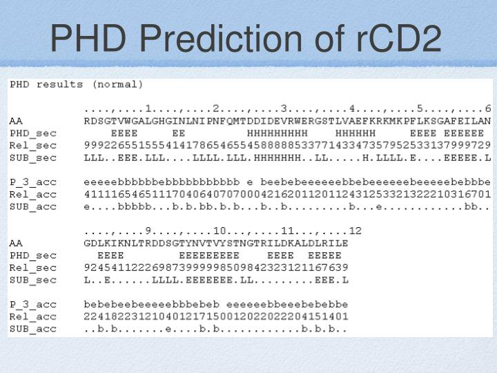 PHD Prediction of rCD2