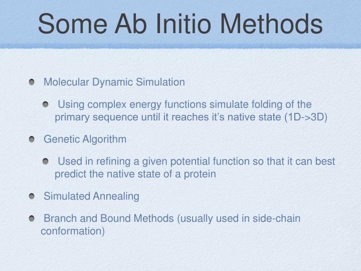 Some Ab Initio Methods