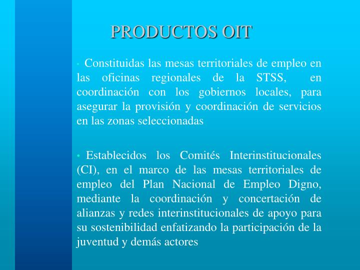 PRODUCTOS OIT