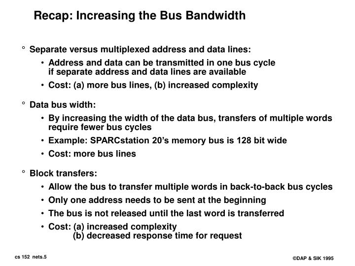 Recap: Increasing the Bus Bandwidth