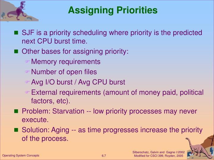 Assigning Priorities