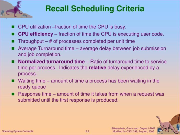 Recall Scheduling Criteria