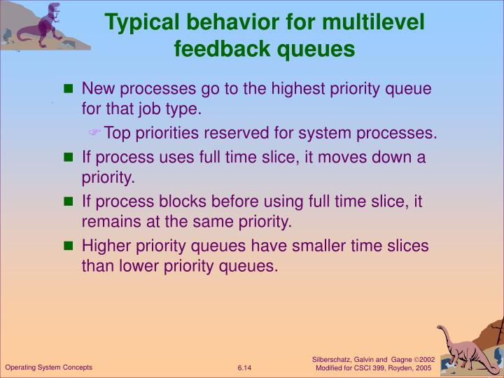 Typical behavior for multilevel feedback queues