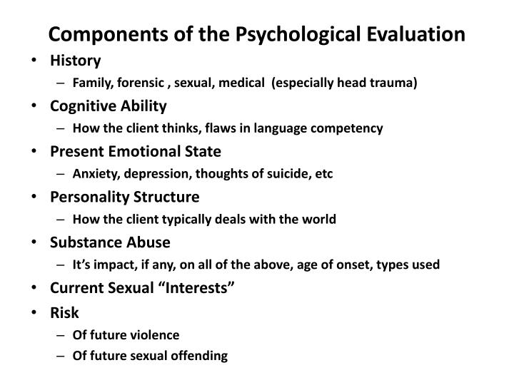 Components of the Psychological Evaluation