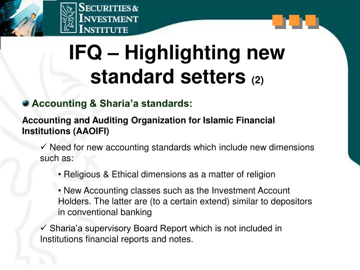 IFQ – Highlighting new  standard setters