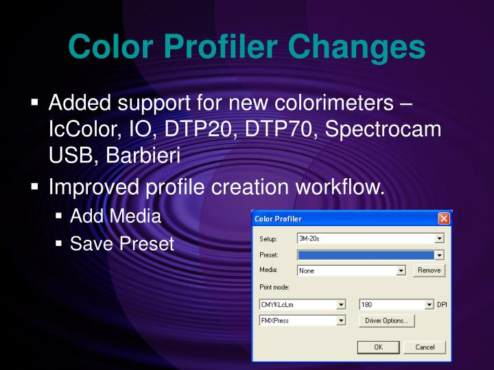 Color Profiler Changes