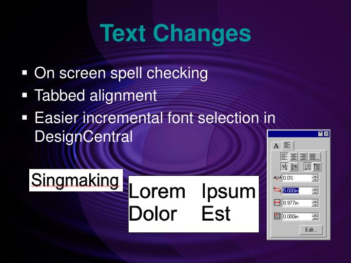 Text Changes