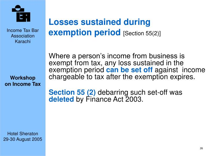 Losses sustained during exemption period