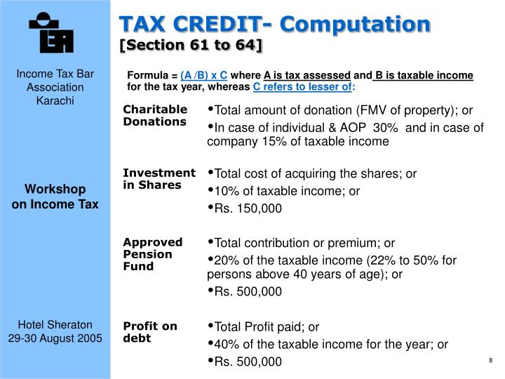 TAX CREDIT- Computation