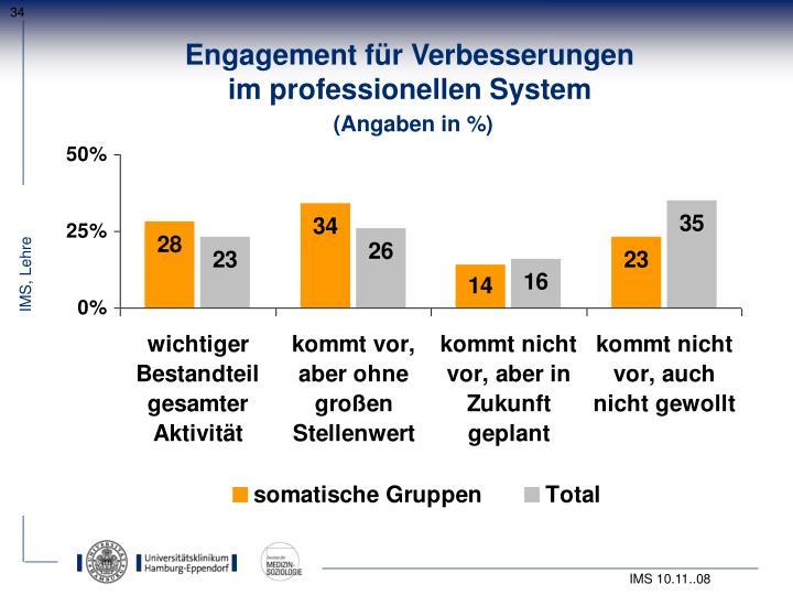 Engagement für Verbesserungen                                        im professionellen System