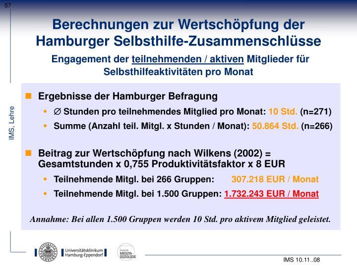 Berechnungen zur Wertschöpfung der                    Hamburger Selbsthilfe-Zusammenschlüsse