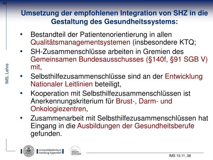 Umsetzung der empfohlenen Integration von SHZ in die Gestaltung des Gesundheitssystems: