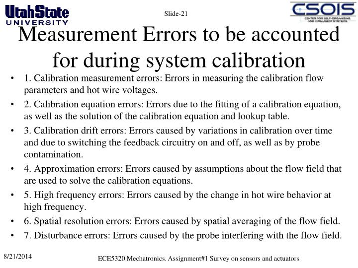 Measurement Errors to be accounted for during system calibration