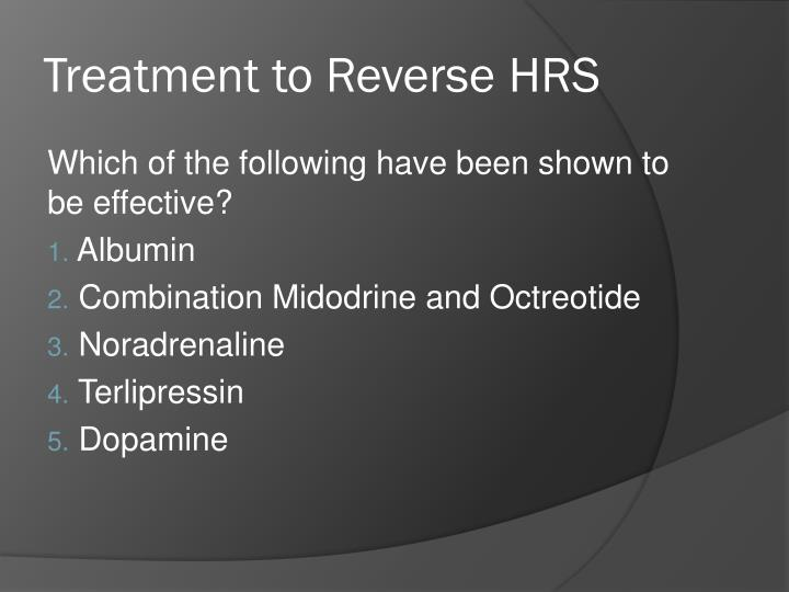 Treatment to Reverse HRS