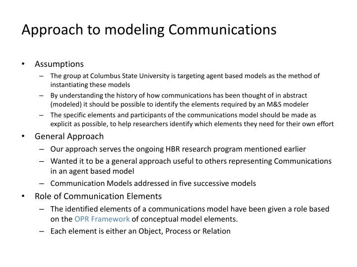Approach to modeling Communications