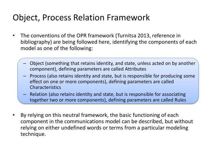 Object, Process Relation Framework